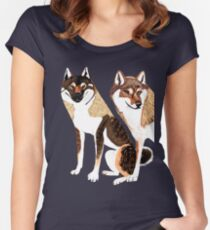 Shikoku Inu pair Women's Fitted Scoop T-Shirt