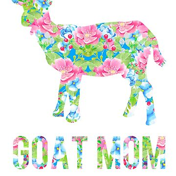 Goat Mom Floral Pattern Goats by LarkDesigns