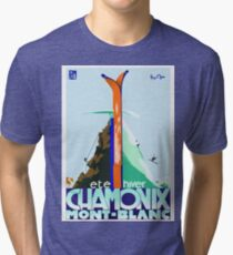 Vintage Travel Poster France - Chamonix - Mont Blanc Tri-blend T-Shirt