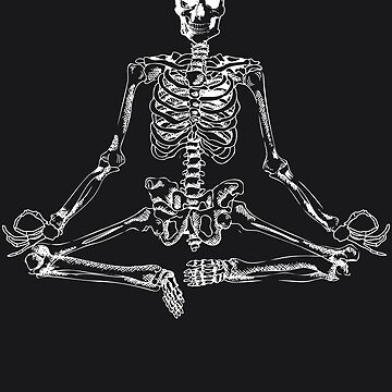 Halloween Meditating Skeleton Art | Funny Freaky Yoga Gift by NBRetail