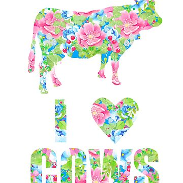 I Love Cows Floral Heart Cow by LarkDesigns