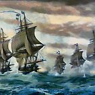 The Battle of the Chesapeake, also known as the Battle of the Virginia Capes, Atlantic Ocean 1781 by Dennis Melling