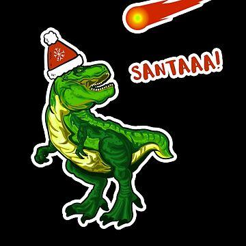 T-Rex Yelling Santa Dinosaur Christmas by hadicazvysavaca