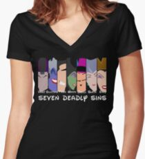 The Seven Deadly Villains  Women's Fitted V-Neck T-Shirt