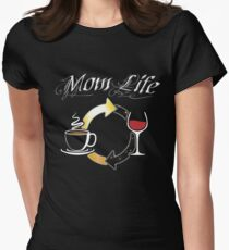 Mom Life, Coffee and Wine Women's Fitted T-Shirt