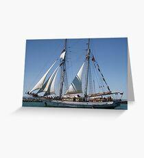 The One & All Brigantine Tall Ship - Youth Development Sail Training Greeting Card