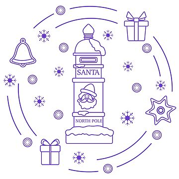 Santa's mailbox, gifts, bell, gingerbread. by aquamarine-p