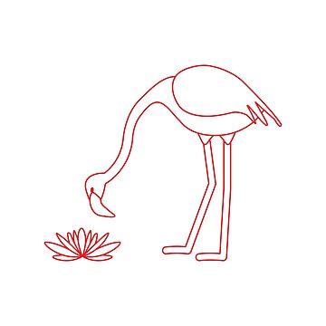 Exotic tropical bird flamingo, water lilies flower by aquamarine-p