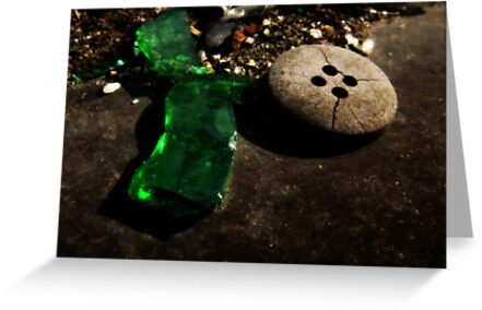 Green Glass Button by tastypaper