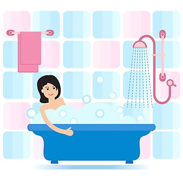 Girl taking a relaxing bubble bath. by aquamarine-p