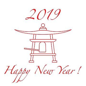 Happy New Year 2019 card. New Year symbol in Japan by aquamarine-p
