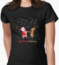 Funny Believe in Christmas lover T-Shirt Christmas Gift Tee Women's Fitted T-Shirt