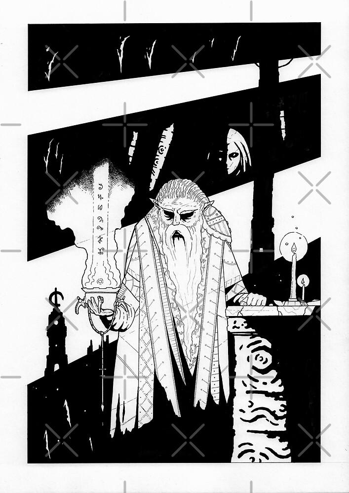 Elven ghost wizard - Fantasy ink drawing - Black white illustration by zachholmbergart