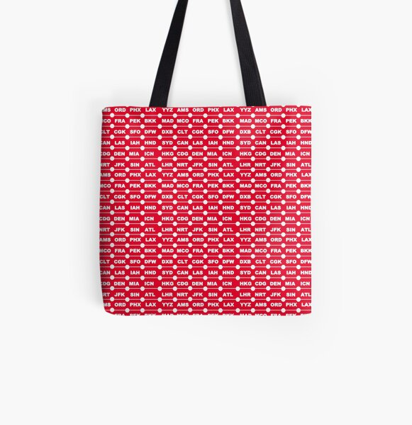 Airports red All Over Print Tote Bag