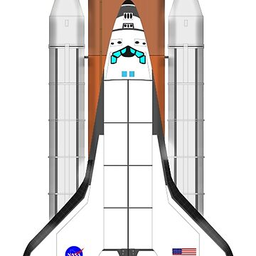Space Shuttle Discovery, Space, Orbit, on White by TOMSREDBUBBLE