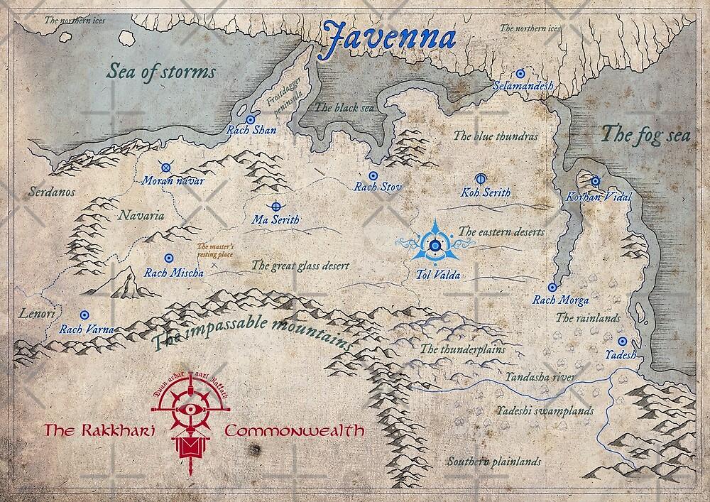 Fantasy map - Javenna by zachholmbergart