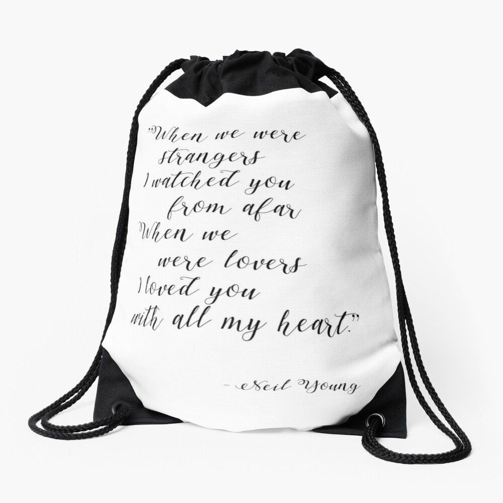 Neil Young Harvest Moon Lyric Print Drawstring Bag
