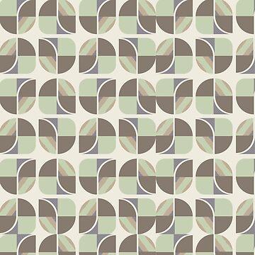 Vintage-Retro Pattern-Pastel Green-Brown-Cream by broadmeadow