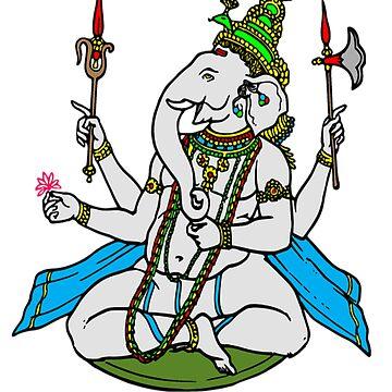 Ganesha Ganesh Elephant Indian Divine God Spiritual Yoga by Discofunkster