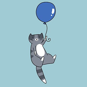 Blue Balloon Gray Tabby Cat by SaradaBoru
