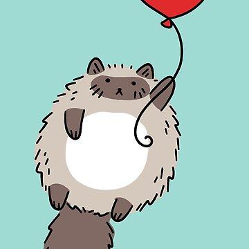 Red Balloon Fluffy Siamese Cat by SaradaBoru