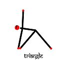 Stick figure of triangle yoga pose with Sanskrit by Mindful-Designs