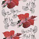 Birds In Flight & Poinsettia by MagsWilliamson
