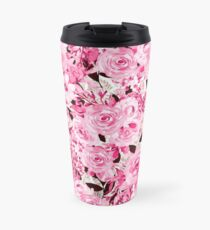 Feminine and Messy - pink flowers pattern Travel Mug