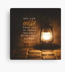Matthew 25:4 Bible Verse Oil Lantern Lamp Print Canvas Print
