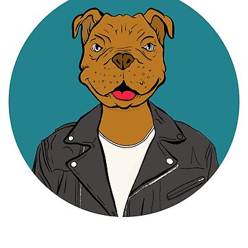 Pit Bull With Leather Jacket by UGRcollection