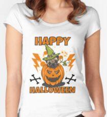 Happy Halloween Pug Tailliertes Rundhals-Shirt