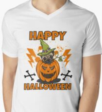 Happy Halloween Pug T-Shirt mit V-Ausschnitt für Männer