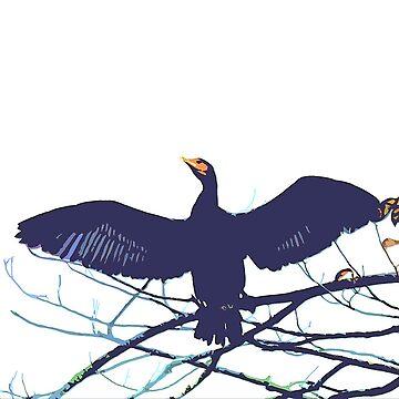 cormorant bird by frugnusdesign