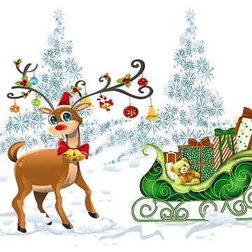 Holiday Sleigh and Reindeer by JMarielle