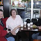 Carol Clifford, Sandra (sigfusson) and myself in Starbucks by AnnDixon