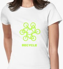 Recycle Message And Bicycle Emblem Women's Fitted T-Shirt