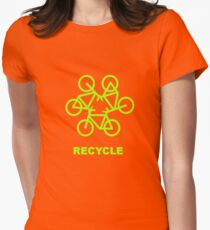 Recycle Message And Bicycle Emblem Womens Fitted T-Shirt