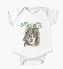 Alien Cephalopod Bad Hair Day with text Short Sleeve Baby One-Piece