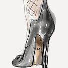A black shoe with high heels and stockings, a small watercolor  by Angie Stimson