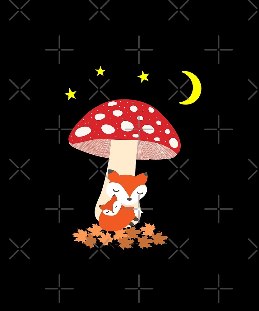 Cute Fox Animals Sleeping Under Mushroom Dark Color by TinyStarAmerica