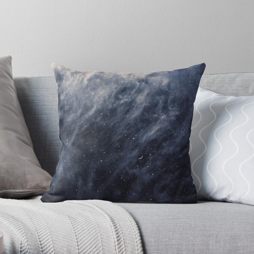 Blue Clouds, Blue Moon Throw Pillow