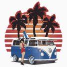 VW Split Window Bus w Girl & Palmes by Frank Schuster
