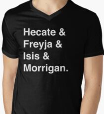 Goddesses of Magic - Hecate, Freyja, Isis, and Morrigan Men's V-Neck T-Shirt