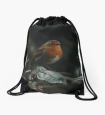 Red robin outside on a tree Drawstring Bag