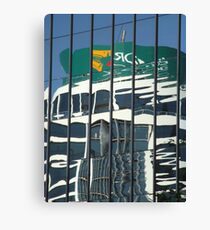 Curved reflection in building Canvas Print