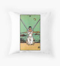Two of Swords Tarot Throw Pillow