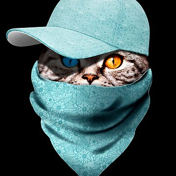 Cool Funny Gangster Cat with Blue Floral Cappi and Bandana by proeinstein