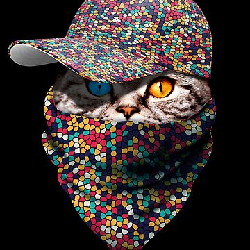 Cool Funny Gangster Cat with Mosaic Cappi and Bandana by proeinstein