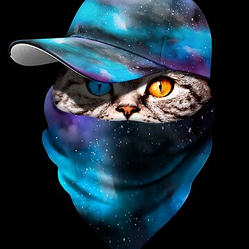 Cool Funny Gangster Cat with Blue Space Galaxy Cappi and Bandana by proeinstein