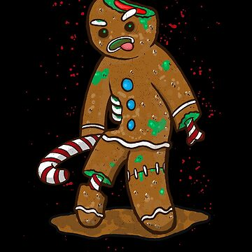 Gingerbread Zombie Ginger-dead Man Funny Christmas Design Anti-Christmas Illustration by nvdesign